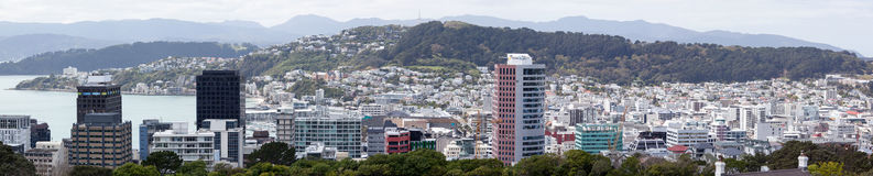 Wellington Panorama. The panoramic view of Wellington downtown, the capital of New Zealand Royalty Free Stock Photo