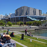 Wellington People Enjoying Spring Sunshine outside the Town Hall Stock Photos