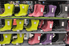 Wellington, rubber or rain boots in a store. Royalty Free Stock Images