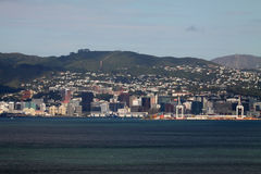 Wellington From The Sea. A view of Wellington, New Zealand on approach from the sea Royalty Free Stock Image