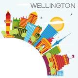 Wellington Skyline avec les bâtiments de couleur, le ciel bleu et l'espace de copie Photographie stock
