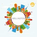 Wellington Skyline avec les bâtiments de couleur, le ciel bleu et l'espace de copie Images libres de droits