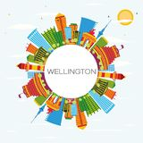 Wellington Skyline with Color Buildings, Blue Sky and Copy Space Royalty Free Stock Images