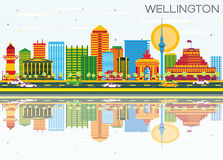 Wellington Skyline with Color Buildings, Blue Sky and Reflection. S. Vector Illustration. Business Travel and Tourism Concept with Modern Architecture. Image for Royalty Free Illustration