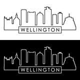 Wellington Skyline estilo linear ilustração stock