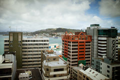 Wellington Skyline from Lambton Quay Royalty Free Stock Photo
