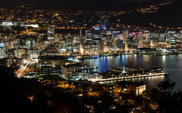 Wellington-Stadt nachts Lizenzfreies Stockbild