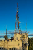 Wellington Transmission Tower. Transmission building and tower with lots of dish and aerials on it stock photo