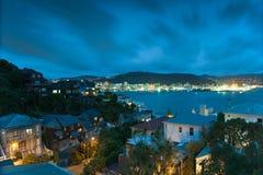 Wellington und Hafen nachts Lizenzfreie Stockbilder