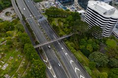 Wellington Urban Motorway, SH1 Opinião aérea de Nova Zelândia imagens de stock