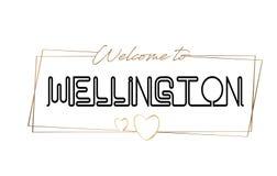 Wellington Welcome à tipografia de rotulação de néon do texto Palavra para o logotype, crachá, ícone, cartão, logotipo, ilustraçã ilustração do vetor