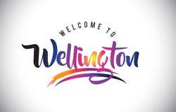 Wellington Welcome To Message em cores modernas vibrantes roxas ilustração do vetor