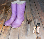 Wellingtons with garden tools on wooden floor Royalty Free Stock Image