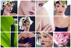 Wellnes collage with beautiful woman Royalty Free Stock Image