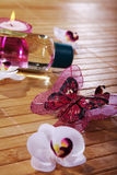 Wellnes decoration in pink and purple style Royalty Free Stock Photo