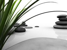 Wellness. 3d rendered illustration of stones and gras Stock Photo