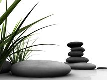 Wellness. 3d rendered illustration of stones and gras Royalty Free Stock Photos