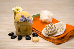 Wellness. Massage brush of wood for relaxation Stock Photos