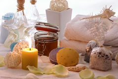 Wellness. Decoration and utilities for a relaxing  time Royalty Free Stock Photos