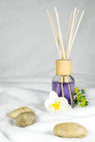 Wellness, aromatisk olja med blommor och stenar Royaltyfria Foton