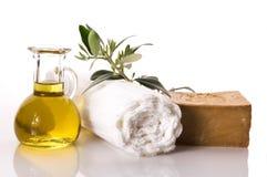 Wellness. artigos verde-oliva do banho Fotografia de Stock Royalty Free