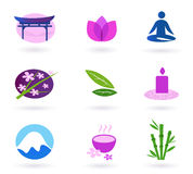 Wellness, asia, relaxation and spa icon set. Vector set of 9 graphic design elements inspired by water, nature, health life and alternative medicine. Perfect use Stock Photography