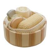 Wellness - bacia de madeira Imagem de Stock Royalty Free
