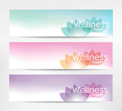 Wellness Banners. Wellness banner with lotus flower - for relaxation, healthcare topics Stock Photos