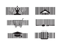 Wellness barcode. Barcode yoga, fashion, shopping, food, cafe and education Stock Images