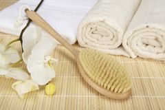 Wellness - bath brush, folded and rolled towels Royalty Free Stock Image