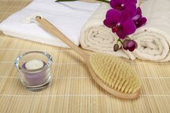 Wellness - bath brush, folded and rolled towels Royalty Free Stock Photo