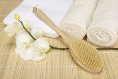 Wellness - bath brush, folded and rolled towels Royalty Free Stock Photography