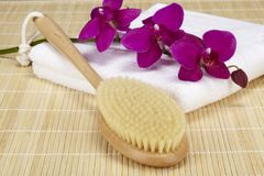 Wellness - bath brush on a folded towel with orchid Stock Images