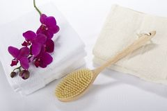 Wellness - Bath brush, towels and a orchid Stock Photo