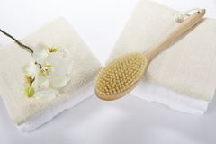 Wellness - Bath brush, towels and a orchid Royalty Free Stock Photos