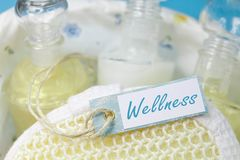 Wellness - bath set in turquoise and white with a sign Stock Photos