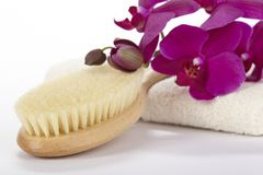 Wellness - Bathbrush, towel and purple orchid Royalty Free Stock Photography