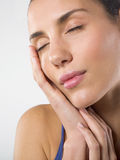 Wellness and beauty. Closeup of an attractive young woman .with eyes closed. Beauty concept Stock Photo