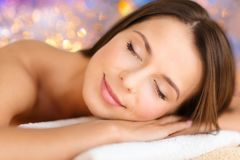 Close up of beautiful woman at spa Royalty Free Stock Images