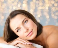 Close up of beautiful woman at spa Stock Photo