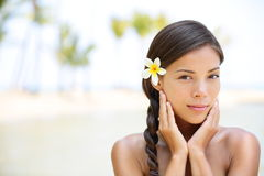 Wellness beauty portrait of relaxing serene woman Stock Images