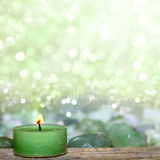 Wellness candle on bright background Royalty Free Stock Images