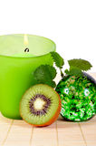 Wellness candle green fruit Stock Photography