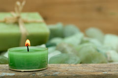 Wellness candle and soap Stock Photos
