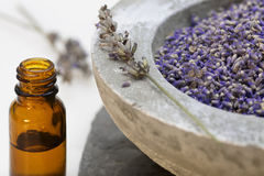 Wellness care products lavender oil royalty free stock image