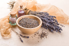 Wellness care products with lavender seeds in a bowl Stock Image