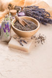 Wellness care products with lavender seeds in a bowl Royalty Free Stock Photos