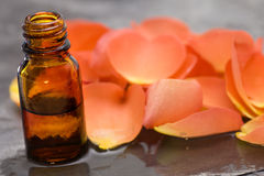Wellness care products roses oil horizontal Royalty Free Stock Photos