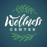 Wellness Center Vector Logo. Stroke Green Leaves Illustration. Brand Lettering.  Royalty Free Stock Photos