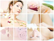 Wellness collage. A pretty woman with a flower in wellness collage Royalty Free Stock Image